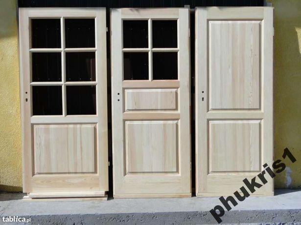 Drzwi wewnętrzne drewniane 100% sosnowe KWADRAT