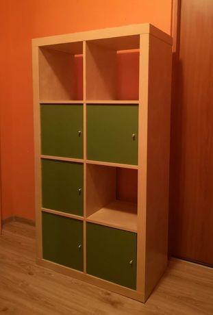 Regał IKEA Kallax podwójny słupek z wkładami