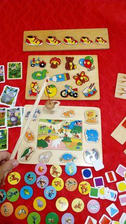 Деревянные пазлы и рыбалка для самых маленьких детей настольные игры