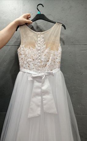 Cudowna suknia ślubna, rozmiar 36-38, biała, kokarda, koronka