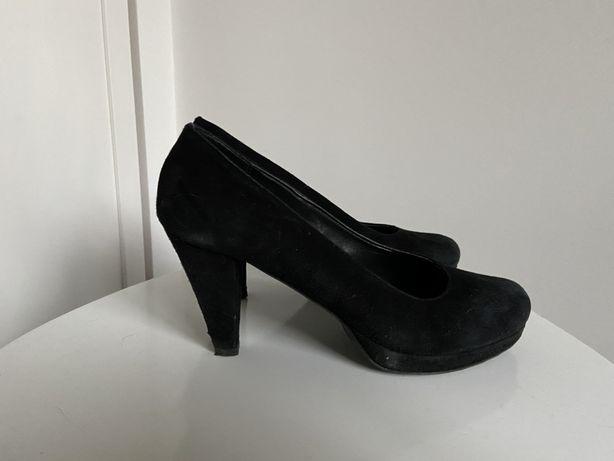 Buty szpilki pantofle obcasy 41 nubuk