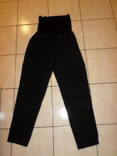 eleganckie czarne spodnie ciążowe do pracy z kontrafałdą rozmiar 40