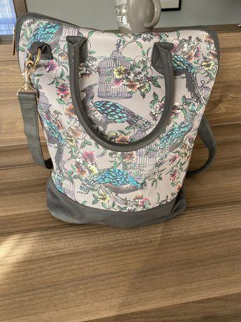 Super torba torebka shopperka wiosna wzor kwiaty ptaki Paperchase