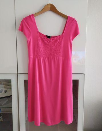 Sukienka ciążowa L H&M mama 40 różowa lato letnia ubrania odzież