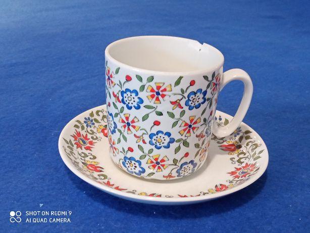 Komplet 1 filiżanka talerzyk porcelana opolska przed 1975 design PRL