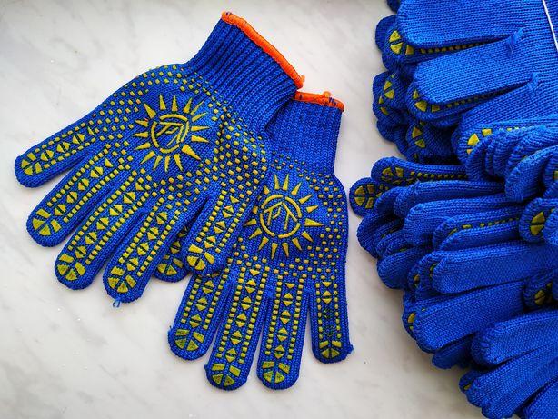 Перчатки рабочие тканевые с резиновыми точками рукавицы хозяйственные