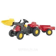 Педальный трактор Rolly Toys rollyKid с ковшом и прицепом 023127