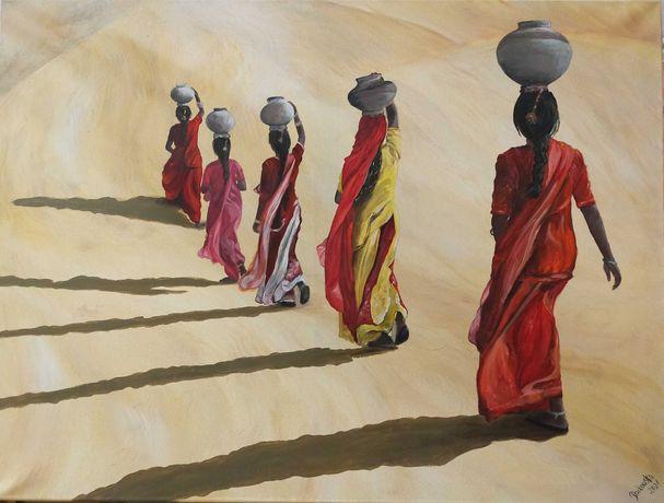 """Obraz ręcznie malowany na płótnie """"Kobiety niosące wodę"""" 80x60cm"""