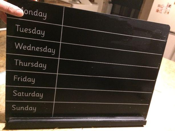 Quadro ardosia plano semanal