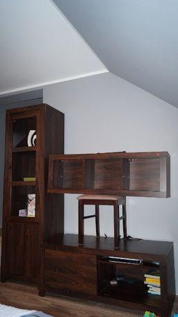 Komplet mebli do pokoju - witryna, szafa narożna, szafka rtv i wisząca