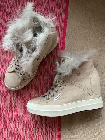 Sneakersy Rucoline włoskiej marki na koturnie skóra jagnięca i futro
