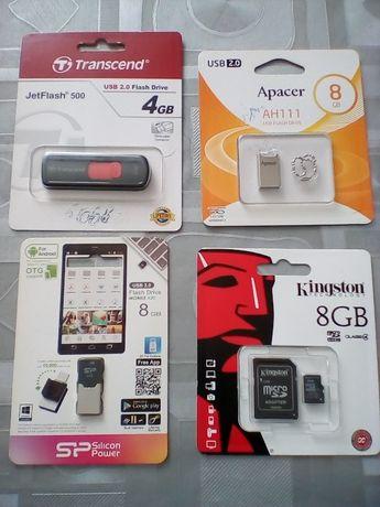 Накопитель Apacer 8Gb, JetFlash 4Gb; Silicon power 8Gb; microSDHC 8G