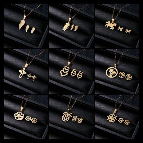 Modne Złote Komplety Biżuterii Naszyjnik + Kolczyki