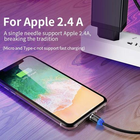 Kabel magnetyczny 2,4A i 5A , wejście micro, typ C, iPhone USB 1m