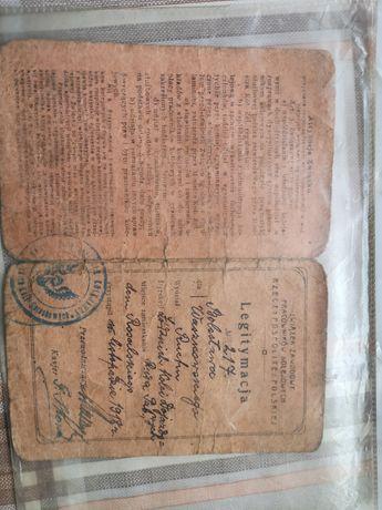 Legitymacja związku zawodowego pracowników Kolejowych 1918r