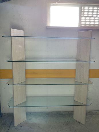Estante de vidro e mármore