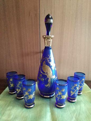 Богемія рубінове скло. Графін та 6 стаканів. Позолота. Чехословакія
