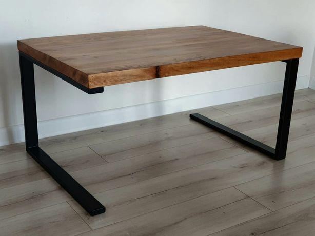 Stolik Loftowy nowoczesny do salonu drewniany stalowe nogi