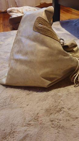 Złota skórzana torebka - darmowa wysyłka