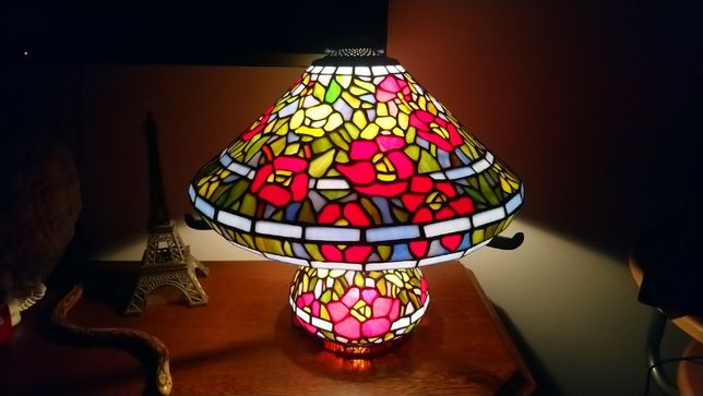 TIFFANY Piękna witrażowa lampa stołowa