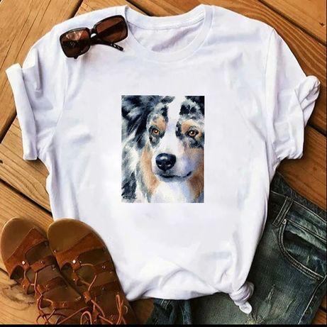 Koszulka t-shirt bluzka biała pies owczarek australijski aussie S-XXL