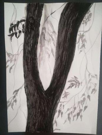 Pintura original árvore aguada tinta-da-china