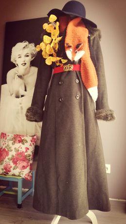 Płaszcz Rozkloszowany butelkowa zieleń retro vintage welna kaszmir