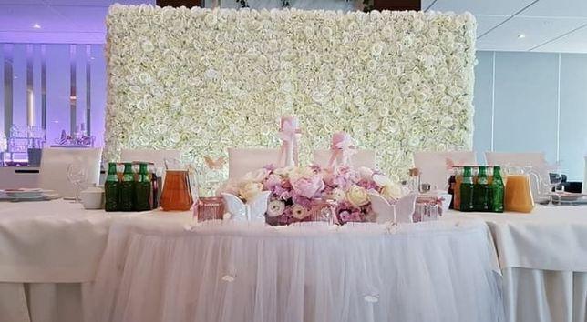 Ścianka kwiatowa ścianka weselna ścianka do zdjęć tło za Parą Młodą
