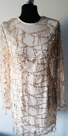 PrettyLittleThing Złota sukienka 40 wyszywana cekinami wesele