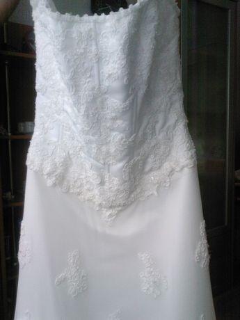 Suknia ślubna DEMETRIOS koronka cekiny koraliki!!