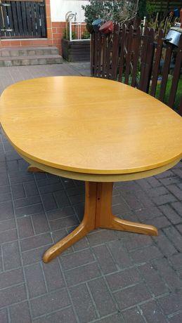 Stół dębowy rozkładany owalny, ława