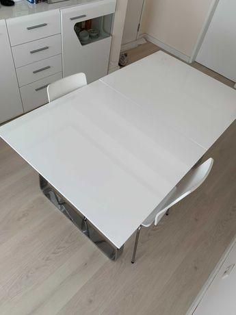 Mesa de Jantar extensível branca Lacada brilhante