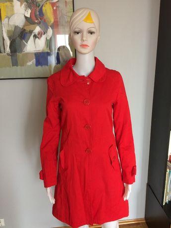 Płaszcz czerwony r.36 100% bawełna wiosna lekki
