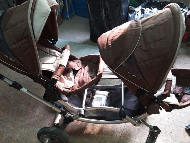 Wózek dla bliźniaków ABC Design, 2 spacerówki + 2 gondole