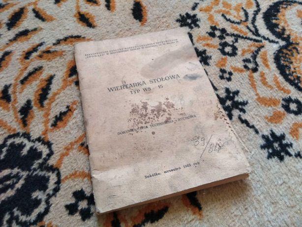 Wiertarka stołowa WS 15 książka DTR oryginlana