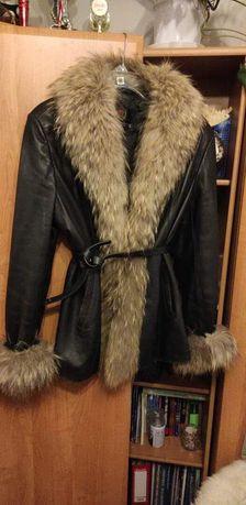 Przepiękna skórzana kurtka z jenotem czarna L