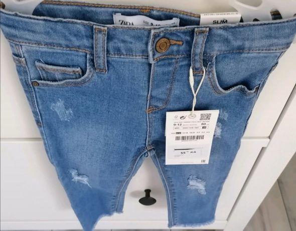 Spodnie jeansowe zara r. 80