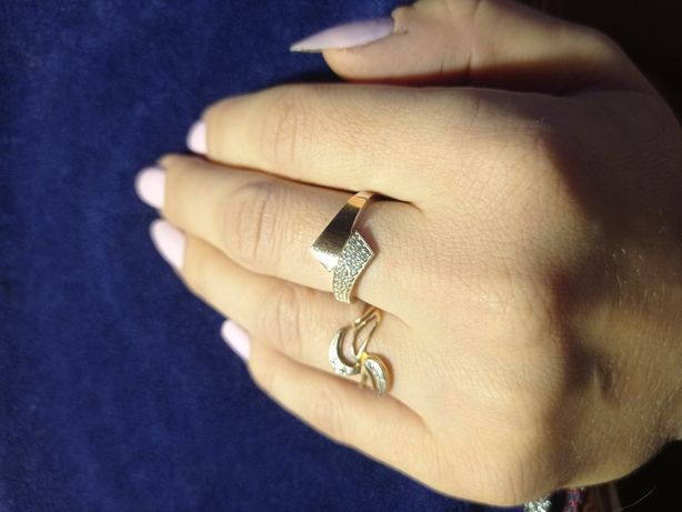 Кольцо серебро 925 с золотой пластиной, крестики