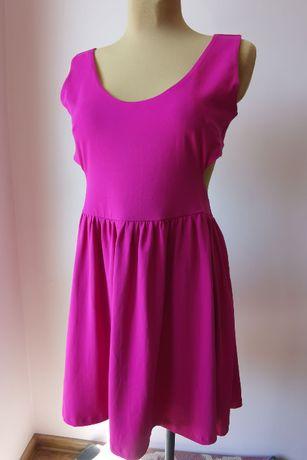 ASOS fuksjowa różowa sukienka z wycięciem na plecach r. 44 XXL