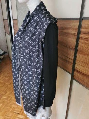 Piękny szal damski z firmy Louis Vuitton w kolorze GRAFITOWYM. Nowy