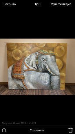 Продам картину маслом Слон на удачу !