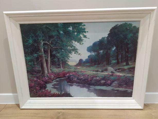 Obraz leśna ścieżka krajobraz drzewa woda 80x60