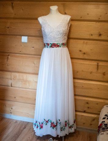 Suknia ślubna góralska - ręcznie malowana