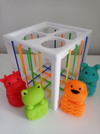 Sorter kształtów, kostka edukacyjna, zabawka sensoryczna, handmade