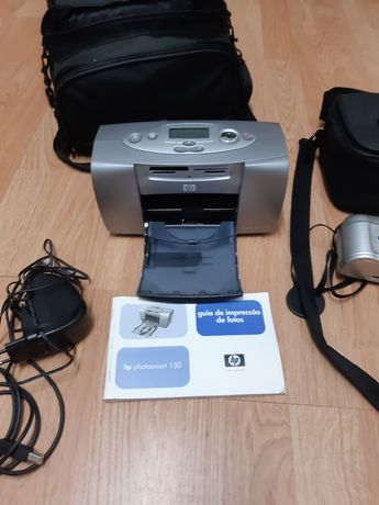 Máquina fotográfica HP + impressora de fotos da mesma marca + malas