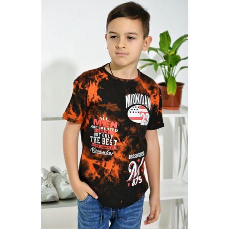 Футболка футболочка на мальчика с ефектом кислотной стирки 5-10л.