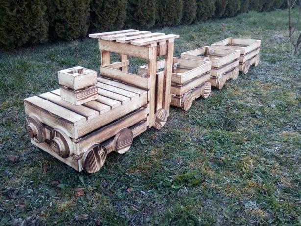 Pociąg drewniany kwietnik donica drewniana skrzynka ciuchcia ozdoba
