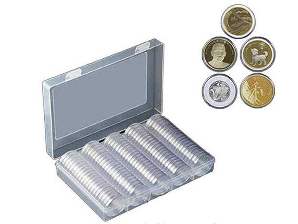 100 Capsula moedas 27mm com caixa (outras medidas disponiveis)