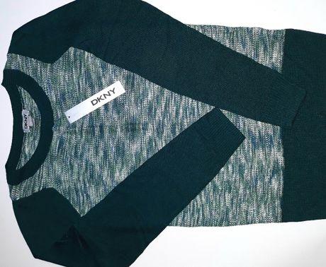 DKNY Donna Karan Retro Zielona Butelkowa Teal Bluzka Sweterek Koszulka