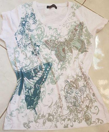 koszulka bluzka kryształkidżety mieniąca motyl top tshirt